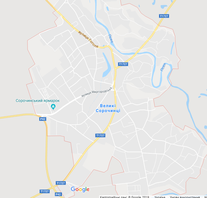 Село Великие Сорочинцы на карте