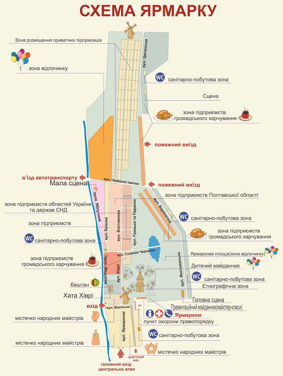 Схема Сорочинской ярмарки на русском языке