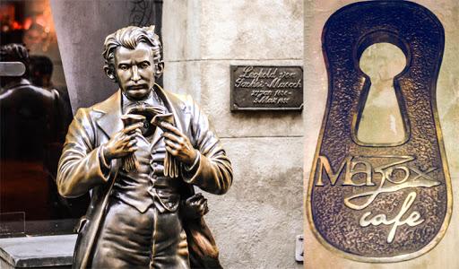 Мазох-Cafe – це концептуальний заклад, присвячений Леопольду фон Захер-Мазоху. На вході в кафе гостей зустрічає пам'ятник всесвітньо відомому письменнику. Адреса: вул. Сербська, 7