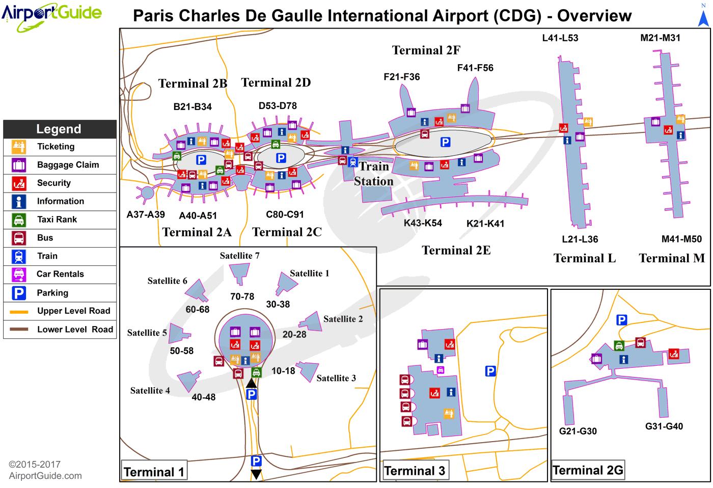Схема аэропорта Шарль де Голль с пунктами проката автомобилей